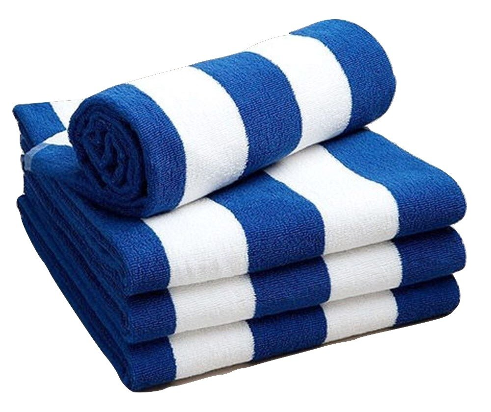 Linen Galaxy Chlorine Resistant Pool Beach Towel Blue and White Stripe 70x150cm 420gsm (Pack of 2)