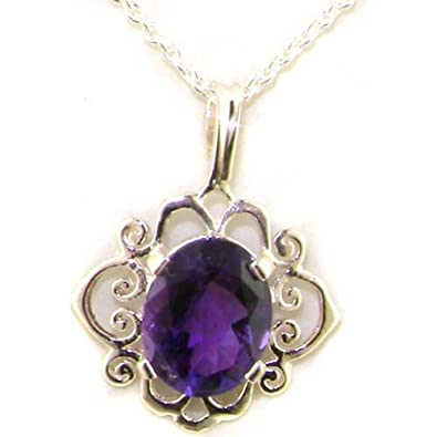 Luxury Ladies Solid 925 Sterling Silver Ornate 9x7mm Vibrant Natural Amethyst Pendant Necklace XUXbqIqI