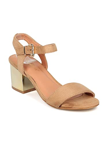 a168f56f42 Thentic Gail-10 Women Faux Suede Metallic Block Heel Ankle Strap Sandal HA11