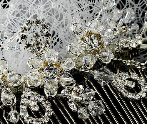 Amara Enchanting Swarovski Crystal & Rhinestone Flower Comb & Birdcage Veil