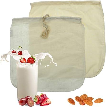 Bolsa de leche de almendras - Paquete de 2 bolsas de leche de algodón orgánico/cáñamo, filtro de alimentos para yogur, paños de queso y jugo, fabricante de leche de soya natural (12