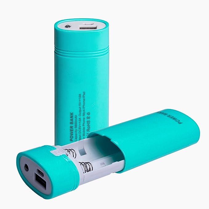 areout DIY Power Bank, Batería 18650 caja/caso, USB cargador para 18650 recargable (batería no includded), con indicador LED, entrada USB y indicador de salida para teléfono móvil/ipad/LED flaslight/cigarrillo electrónico recargable: Amazon.es: Electrónica