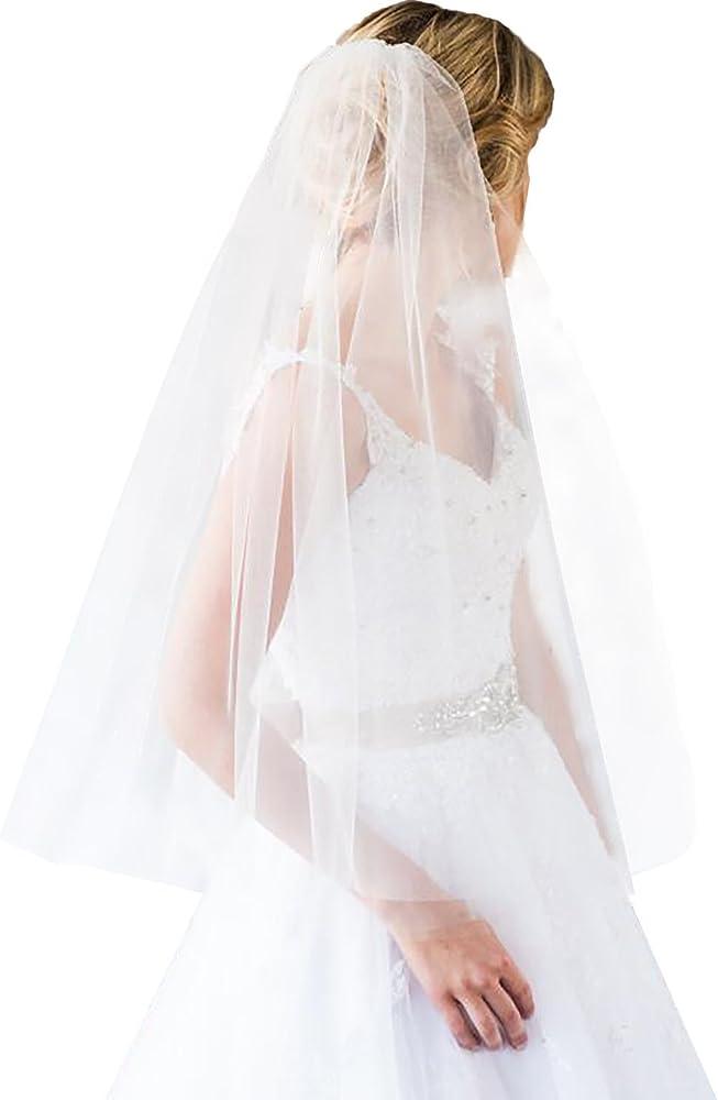 White//Ivory 1-Layer  Elbow Length Rhinestone Edge Wedding Bridal Veil With Comb