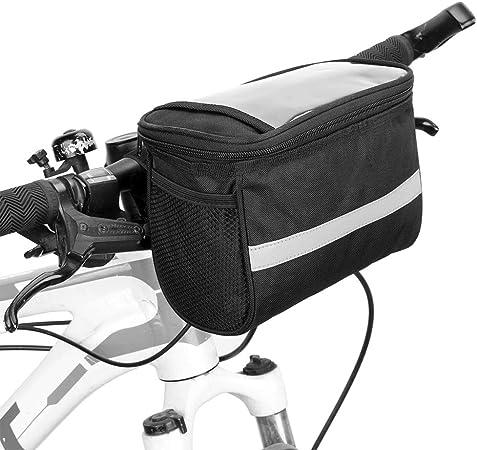 Lixada Bike Frame Bag-Bicycle Handlebar Bag-Bicycle Triangle Bag Bike Front Tube Bag Bike Pannier Bag-Bike Baskets Bag with Reflective Stripe Optional