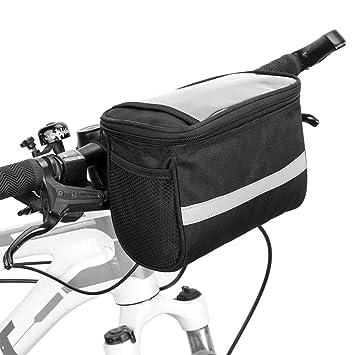 Lixada Bolsa para Manillar Bicicleta Bolsa Delantera de Bicicleta con Tira Reflectante Bolsa para Ciclismo MTB Bicicleta