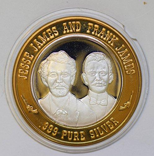 IE BU0349 US casino chip token jessie james frank james silver DE PO-01