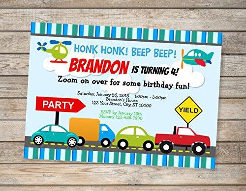 Amazon Com Transportation Cars Trucks Birthday Party Invitations