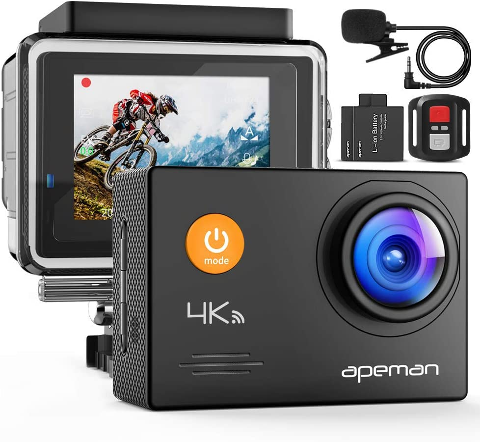 APEMAN A79 4K Action Camera 20MP WiFi External Microphone Remote Control Underwater 40M Waterproof Sports Cam
