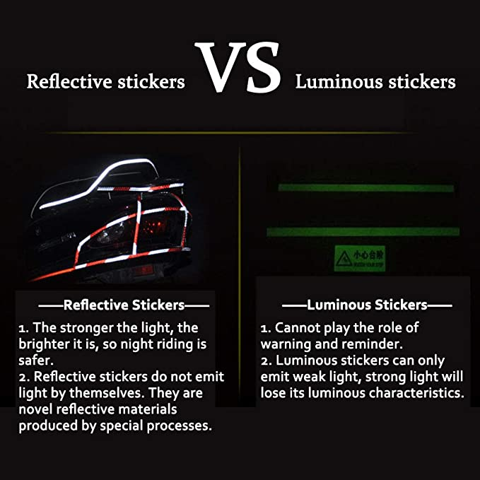 Car Motor Bicycle Reflective Tape Safety Warning Waterproof Decor Sticker DIY