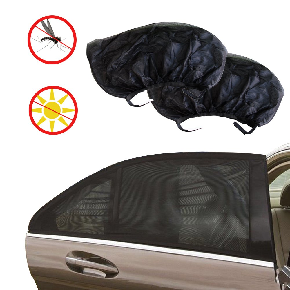 WATTA Universal Car Side Window Shade Sunshade, Premium Breathable Mesh Sun Shield, Protect Baby Pet from UV Rays Sun Mosquito bites, Fit for Most Cars, Trucks and SUV's - 43'x19'/110x50CM (Pack of 2) Trucks and SUV' s - 43x19/110x50CM (Pack of 2)