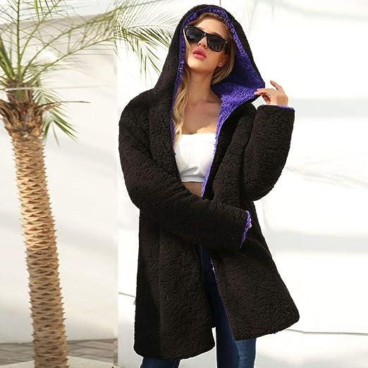 Mujer Invierno Abrigo Casual Mujer Cremallera Sudadera con Capucha Cálido Chaqueta de Lana Artificial Chaqueta Otoño Pullover 4 Colores: Amazon.es: Ropa y ...
