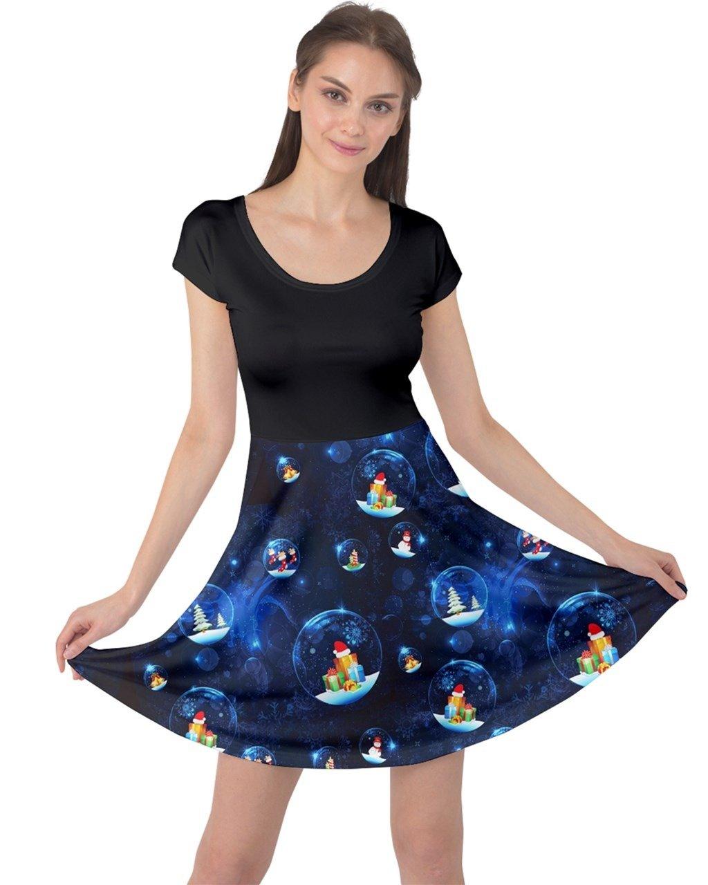 CowCow Womens Glass Ball Short Sleeve Dress, Dark- S