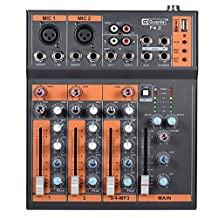 ammoon 4-Channel Mic Line Audio Mixer Mixing Console 3-band EQ USB Interface 48V Phantom Power with Power Adapter