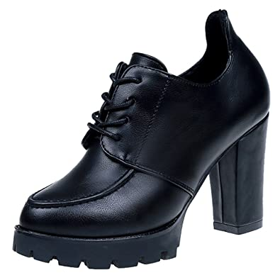 de9ce4f6ba46d3 OHQ Petite Fille Britannique avec des Talons Hauts Rouge Noir Chaussures à  pour Femmes Fashion Britanniques