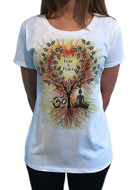 Camiseta para Mujer Love & Peace Meditación de Yoga de ...