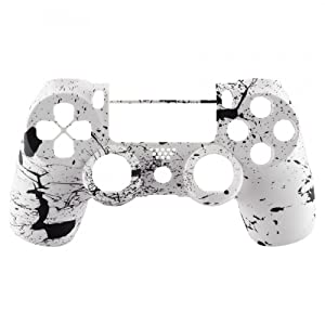 eXtremeRate Pattern Soft Touch Grip Front Housing Shell Faceplate for Playstation 4 PS4 Slim PS4 Pro Controller JDM-040 JDM-050 JDM-055 - White Splashing Spray (Color: White Splashing Spray)