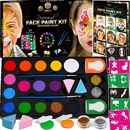 Face Paint Kit for Kids - 60 Jumbo Stencils, 15 Large Water Based Paints, 2 Glitters - Halloween Makeup Kit, Professional Face Paint Palette, Face Paints Safe for Sensitive Skin, Face Painting Book ()