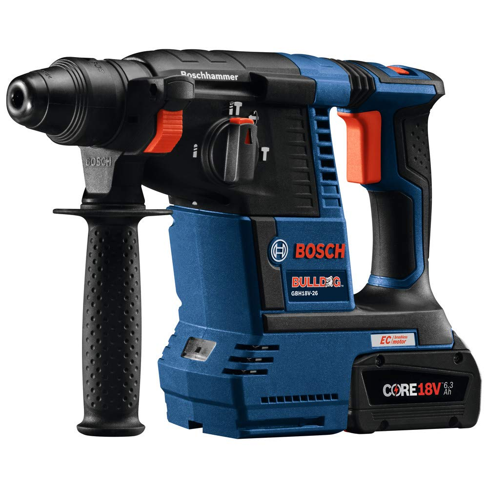 Bosch GBH18V-26K24-RT 6.3 Ah Cordless Lithium-Ion Brushless 1 in. SDS-Plus Bulldog Rotary Hammer Kit (Renewed) by Bosch (Image #2)