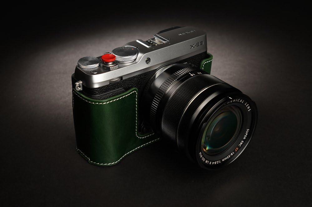 BolinUS Handmade Genuine Real Leather Half Camera Case Bag Cover for Fujifilm Fuji X-E3 Camera Bottom Opening Version Hand Strap Fujifilm XE3 Case Lava brown