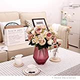 YILIYAJIA 2PCS Vintage Artificial Peony Flowers Bouquet Fake Flower Silk Hydrangea Flowers Wedding Home Outdoor Decor Hotel Party Office Decoration (pink&white, 2)