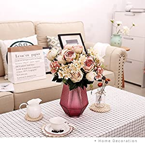 YILIYAJIA 2PCS Vintage Artificial Peony Flowers Bouquet Fake Flower Silk Hydrangea Flowers Wedding Home Outdoor Decor Hotel Party Office Decoration 14