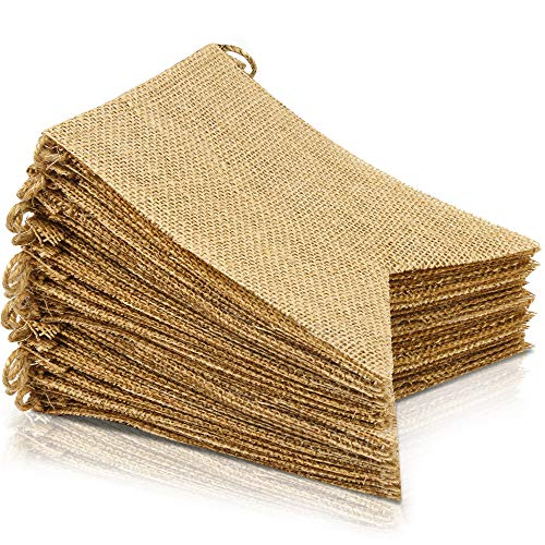LEOBRO 48 Pcs Burlap Banner, 30 Ft Swallowtail Flag, DIY Decoration for Holidays, Wedding, Camping, Party and Any Occasion Shipping by -