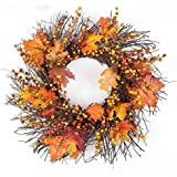 Sannysis Thanksgiving Day Large Wreath with Berry Maple Leaf Fall for Door Wall Ornament Garland Decoration 19.69inch (A)