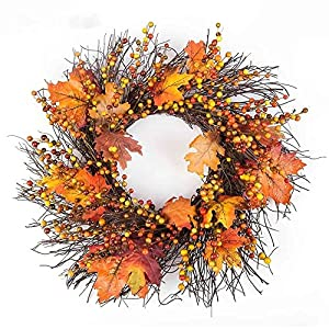Sannysis Thanksgiving Day Large Wreath with Berry Maple Leaf Fall for Door Wall Ornament Garland Decoration 19.69inch 46