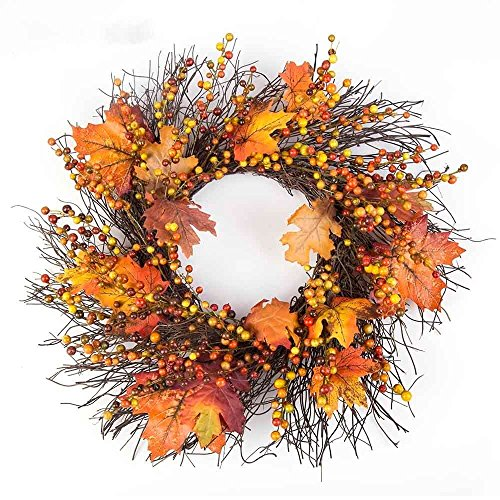 Thanksgiving Wreath with Berry Maple Leaves