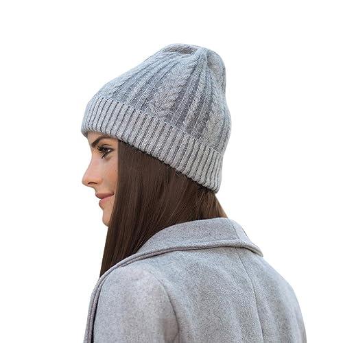 Kanpola Las Mujeres Invierno Sombrero Cálido de Punto Esquí Croché Gorros Sombreros Suelto de Lana Beanie (55~65 CM, Gris)