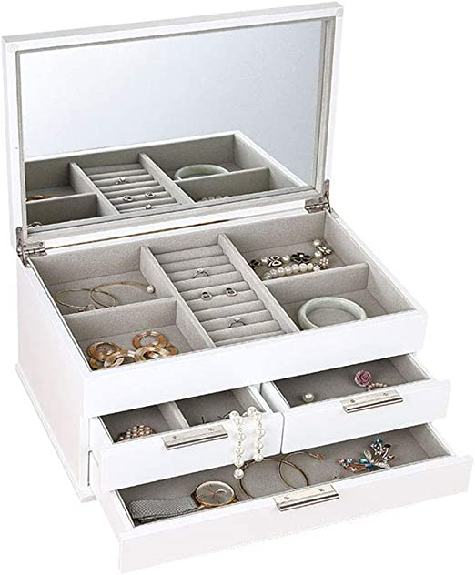 LLG-FSDD Cosmetic Box joyero de Madera Blanca con Caja de cajones ...