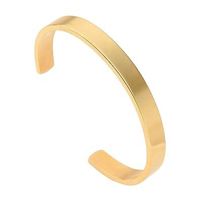 d44a5e9d137 Amazon.com: GWL Stainless Steel Plain Polished Cuff Bangle Flat Bracelets  8mm for Women Men Girls Gold: Jewelry