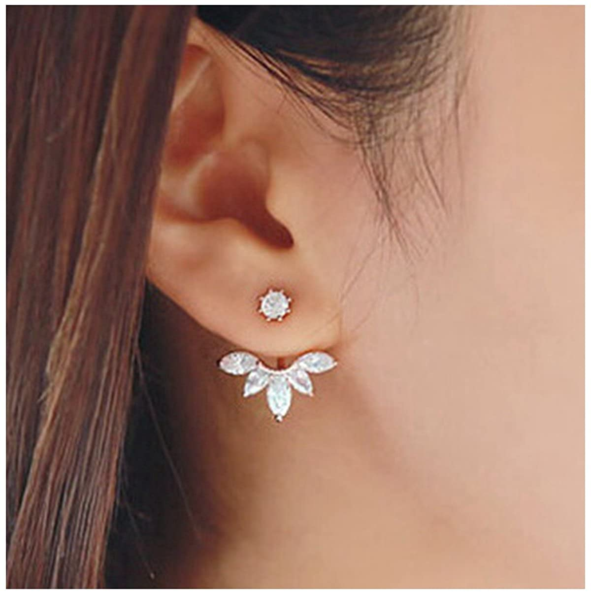 Elensan Fashion Gold Plated Leaf Crystal Ear Jacket Double Sided Swing Stud Earrings Gift A004