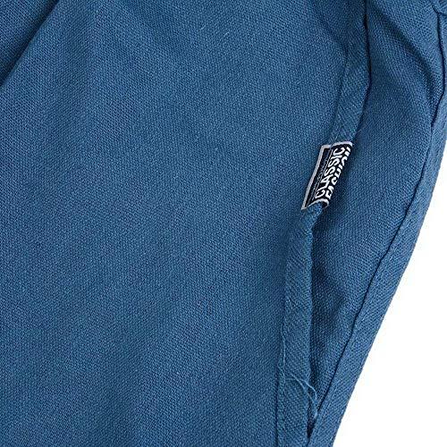 Battercake Casual Cordón Tela Deportivos Pantalones De Chinos Holgado Blau Lona Cómodo Casuales Hombre Para Ajuste Con 6qSfr6