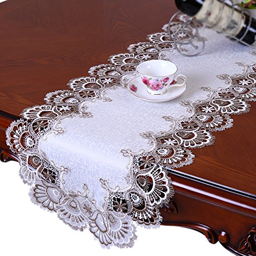 FASHSEX Lace Dresser Scarf 53 By 16 Inch Table Runner Cocoa Brown Neutrals & White Doily