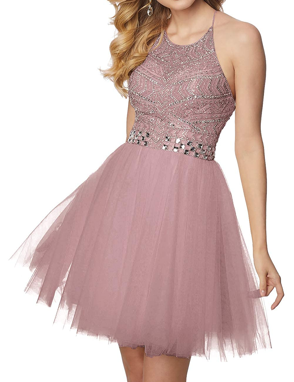 Dusty_pink Short Homecoming Dresses Tulle Halter Cocktail Prom Gowns Beads Formal Evening Party Dress