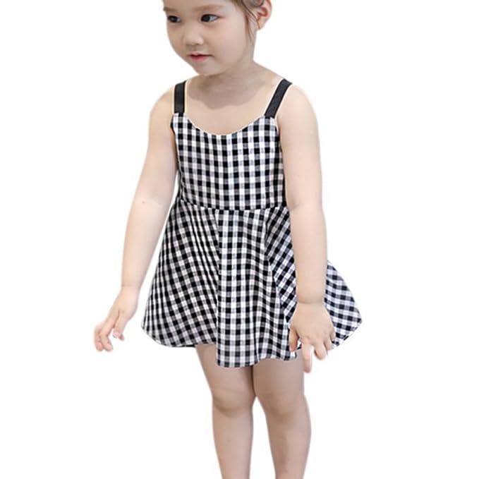 32553bd4731c2 Brightup Verano Bebé Chicas Imprimir Vestido de Princesa Vestimenta Sin  Mangas Vestidos para Niñas Casual Vestir Vestido de Playa por 2-7 años   Amazon.es  ...