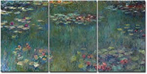 Wieco Art Water Lilies Canvas Prints Wall Art of Claude Monet Famous Oil Paintings Reproduction Artwork 3 pcs Large Classic Flower Lake Pictures Giclee Artwork for Bedroom Living Room Home Decorations