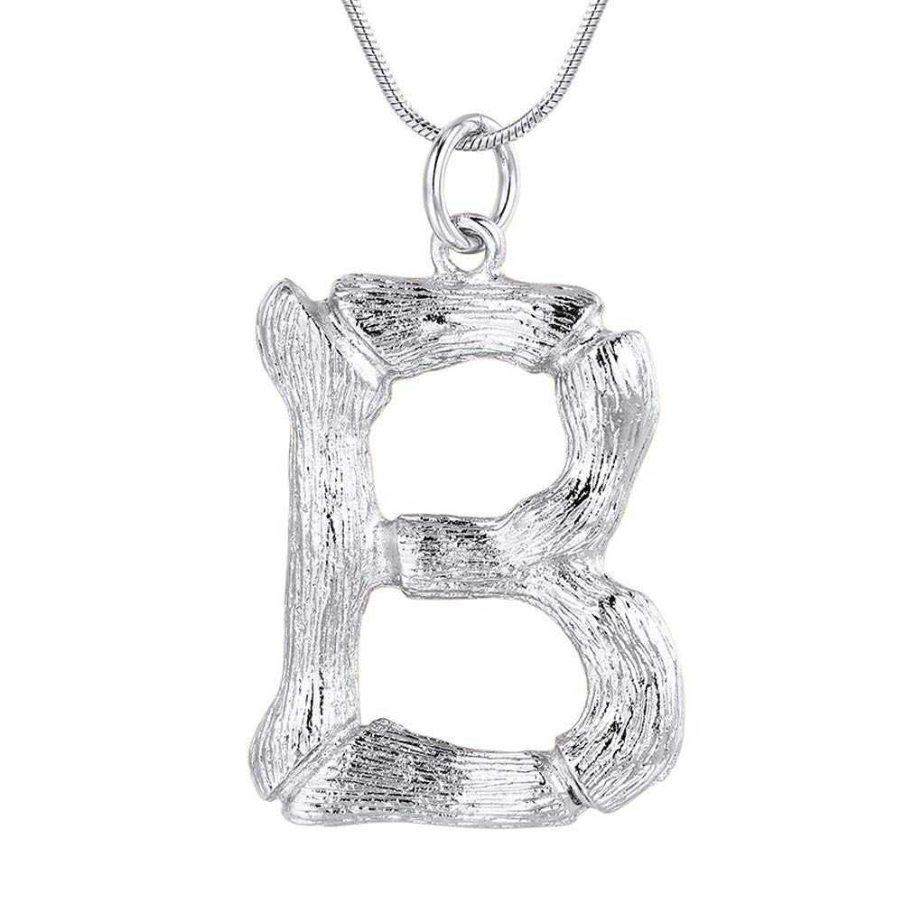 FOCALOOK Letter Initial Pendant Necklace Women Stainless Steel Platinum Plated Snake Chain Alphabet Jewelry B Necklace
