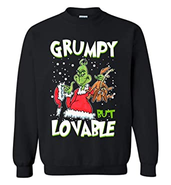 52744ea035bb Amazon.com: CLOTHINGFORFUN Grinch-Grumpy But Lovable Sweatshirt Adult and  Youth Size: Clothing