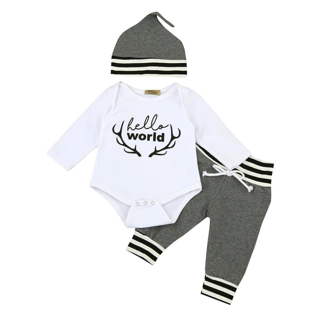 894c038f2 ropa bebe nino recien nacido otoño Switchali Impresión blusas bebe niña  manga larga Camisetas Bebé Conjuntos moda camisa + Pantalones largos +  Sombrero (3 ...