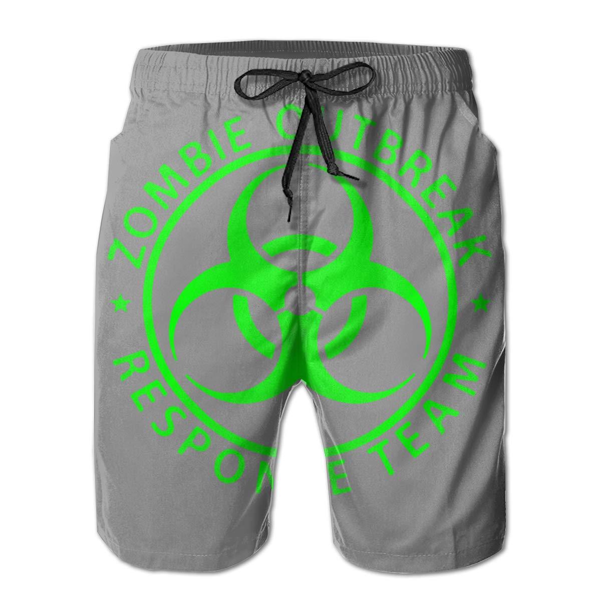 LLXM Zombie Outbreak Response Team Men Swim Trunks Quick Dry Waterproof Beach Pants Beach Board Shorts