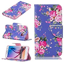 for Samsung Galaxy Grand Prime G530 Case,KMETY(TM) Wallet Cellphone Book Protective Cover Designed with Credit Card Slot and Money Holder and Kickstand for Hands Free video (Purple flowers)