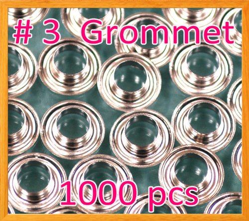 1000 #3 0.43'' Grommet and Washer Nickel Eyelet Grommets Machine Sign Punch Tool by Display Sign Mart