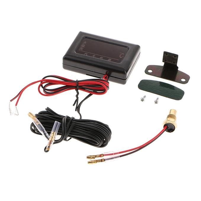 D DOLITY Digital Voltmeter Wassertemperaturanzeige Meter Mit Sensor f/ür 12V 24V Auto universell Schwarz 17mm
