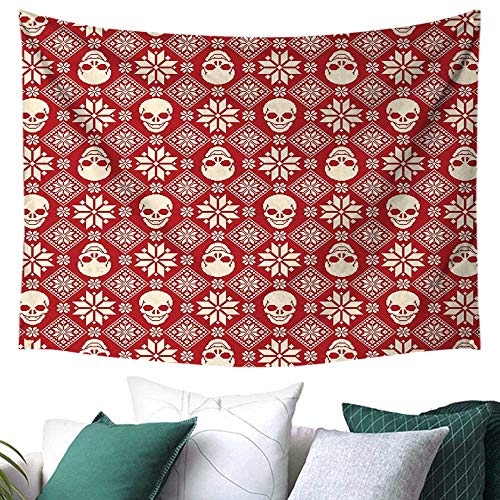 WilliamsDecor Nordic Tapestry for Bedroom Nordic Stitch Skull Pattern with Snowflakes and Floral Design Ornamental Knit Design College/Dorm Decoration 93W x 70L Inch Red Beige