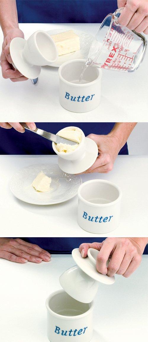 Butter - Bote para mantequilla mantequilla para (cerámica), color blanco efbd00