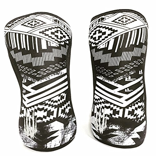 Bear KompleX Reversible Knee Sleeves (Sold AS A Pair of 2) Compression and Support for Weightlifting, and Powerlifting - 5mm Neoprene Sleeve for The Best Squats - Both Women & Men, Aztec 7mm L
