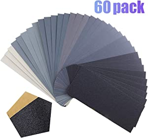 Sandpaper,Premium Wet Dry Waterproof Sand Paper,60PCS 120 to 5000 Assorted Grit Sanding Paper for Wood Furniture Finishing, Metal Sanding and Automotive Polishing,9 x 3.6 Inches
