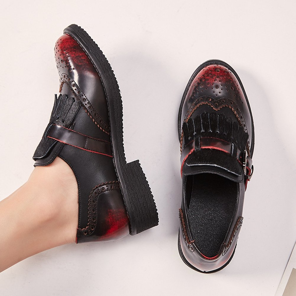 Loafers Shoes for Women Metal Buckle Tassel Slip On Perforated Round Toe Oxford